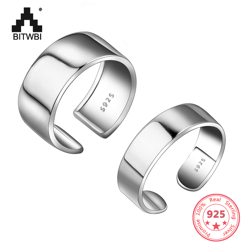 Big Classic 925 Sterling Silver Adjustable Wide Ring Finger for Women Band Bijoux Jewelry