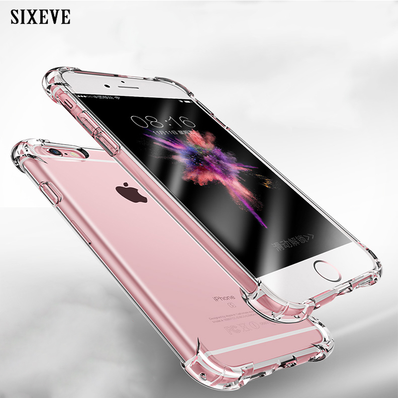SIXEVE Super Shockproof Clear Soft Case for iPhone 6 s 6S 7 8 Plus 7Plus 8Plus X XS Max XR Silicone Luxury cell Phone Back Cover slip-on shoe