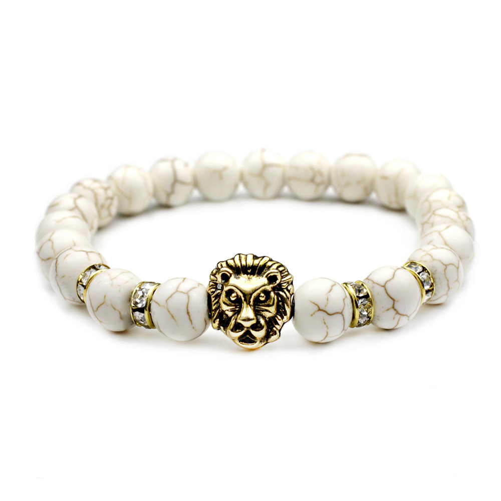 2018 New Design Natural White Stone Beads Bracelets Fashion Gold Silver Metal Lion Head Bracelets For Men Women Jewelry Gifts