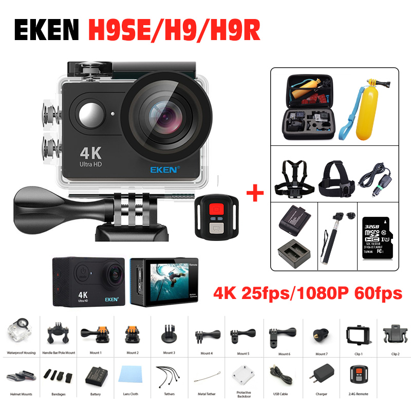 Original EKEN H9 / H9R remote Action camera Ultra HD 4K WiFi 1080P/60fps 2.0 LCD 170D lens waterproof Helmet Camera Sports DV 2017 original eken h9r sports action camera 4k ultra hd 2 4g remote wifi 170 degree wide angle