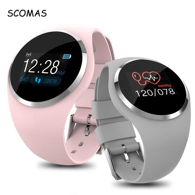 "SCOMAS النساء ساعة ذكية 0.96 ""LCD ضغط الدم مراقب معدل ضربات القلب الإناث الفسيولوجية تذكير IP67 مقاوم للماء Smartwatch"