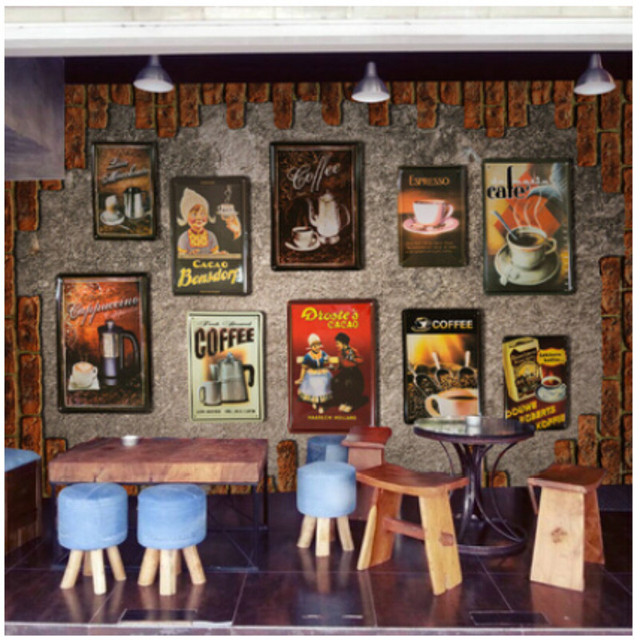 European And American Vintage Brick Wall Murals Living Room Coffee Tin Cafe  Restaurant Bar 3D Wallpaper Part 43