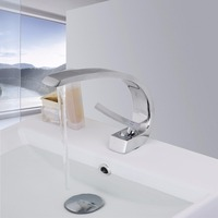 New Bathroom Sink Basin Faucet Deck Mount Bright Chrome Washing Basin Mixer Water Taps Bath Basin
