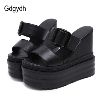 Gdgydh Sexy Buckle Summer Shoes Women Roman Sandals High Quality Wedges High Heels Sexy Peep Toe Platform Shoes Black White cocoafoal woamn transparent sandals white black red fetish high heels pole dance shoes sexy peep toe summer platform heels pumps