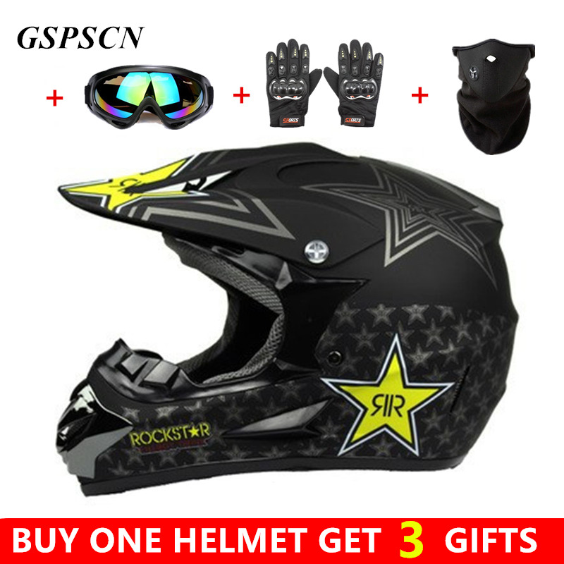 Buy One Get Three Gifts Motorcycle Men motocross Off Road Match Helmet Protective Helmets ATV Dirt Bike Downhill MTB DH Capacete  cute lemon yellow helmet downhill motorcycle full face motocross helmets atv 6 high quality