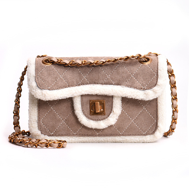 749dd56a56 Winter Plush Women Shoulder Bag Suede Crossbody Messenger Bags Designer Fur  Feather Women Box Bag Plaid Party Clutch Bags