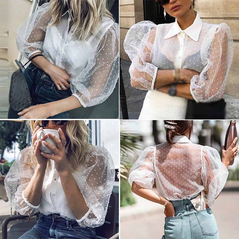 2019 Women Tops Casual Half Sleeve Mesh Shirt Lapel Buttons See Through Shirt Polka dots White in Blouses amp Shirts from Women 39 s Clothing