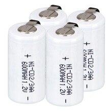 4  pcs 2/3AA rechargeable battery 600 mah Ni-Cd 1.2V Batteries 2.8*1.4cm- white color