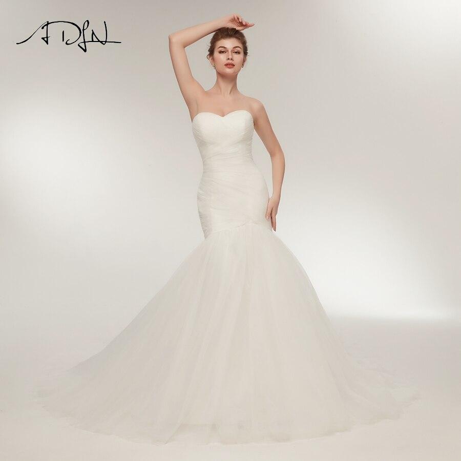 ADLN Sexy Mermaid Wedding Dress Vestido De Novia Sweetheart Sleeveless Pleats Cheap Bridal Gowns Lace up