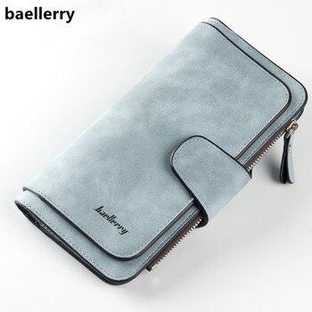 Baellerry Brand Wallet Women Scrub Leather Lady Purses High Quality Ladies Clutch Wallet Long Female Wallet Carteira Feminina rose