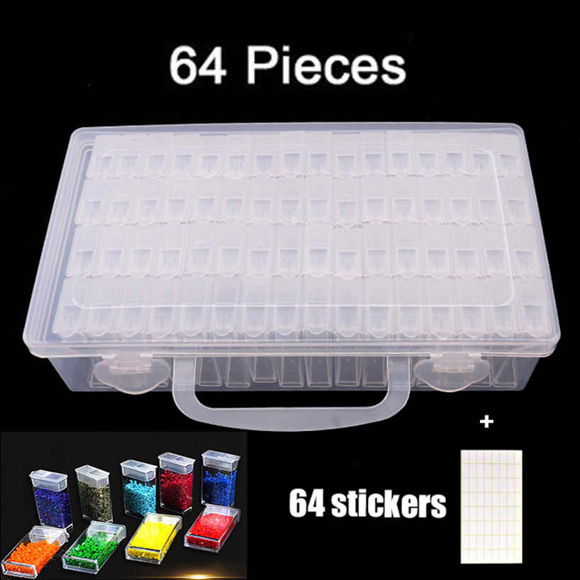 64/128 Grids Plastic Box Organizer Medicine Case diamond painting Storage Box Embroidery Storage Case Jewelry Accessories Tools