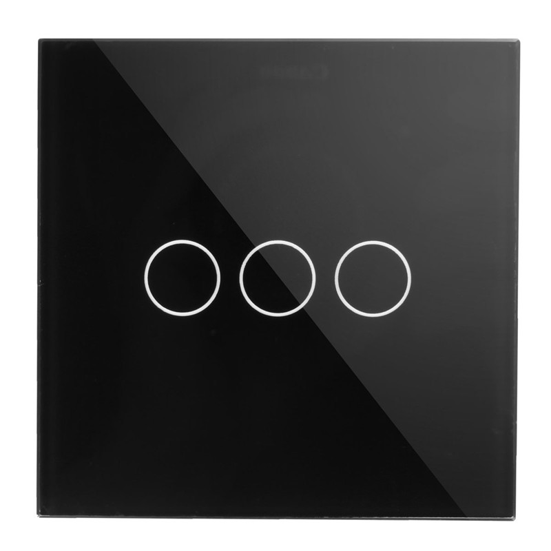 Wall Switch, 3-gang 2-way, AC110~250V, UK Touch Light Switch with LED Indicator, Black White Crystal Glass Panel High Quality makegood uk standard 2 gang 1 way smart touch switch crystal glass panel wall switch ac 110 250v 1000w for light led indicator