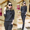 2016 New Korean Style Casual Women Winter Suit Luxury Fur Scarf Collar Slim Hoodie & Long Pants Two Piece Set Thick Tracksuits