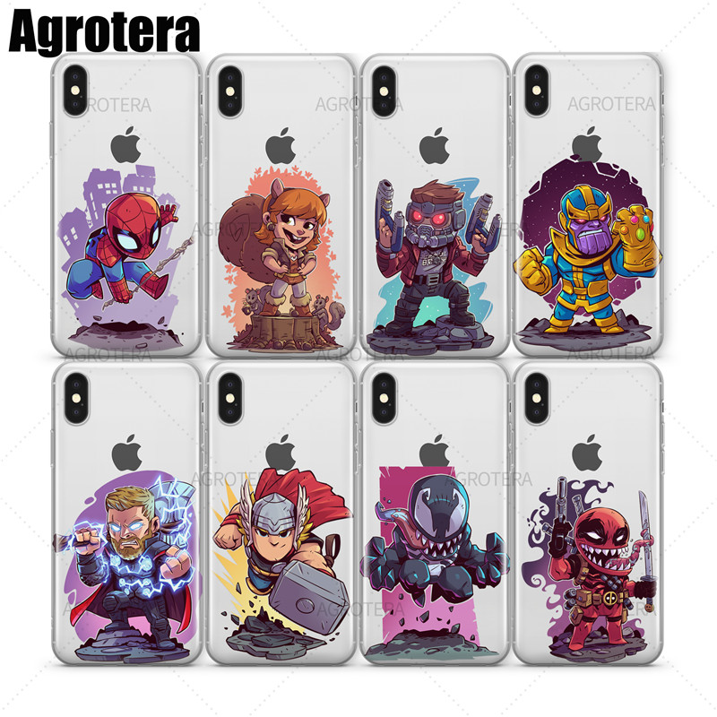 Agrotera Clear TPU Case Cover for iPhone X XS Star-Lord Thanos Thor Venom Venompool Winter Soldier Wolverine Yondu image