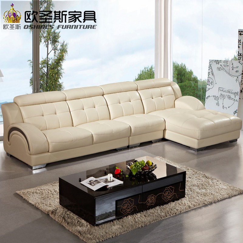 beautiful korean L shape sectional provicial leather sofa with stainless steel legs, modern euro design leather sofa OCS-625 beautiful darkness