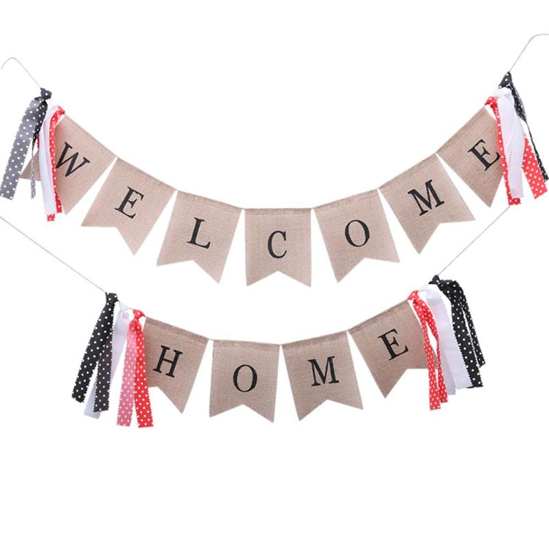 2pcs/set Bunting Welcome Home Linen Banner Flag Pennant Bunting Birthday Thanksgiving Party Decorations Event Supplies2pcs/set Bunting Welcome Home Linen Banner Flag Pennant Bunting Birthday Thanksgiving Party Decorations Event Supplies