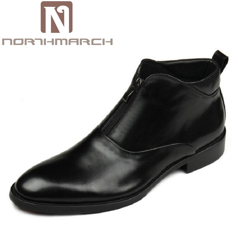 NORTHMARCH Brand Quality Genuine Leather Winter Boots Comfortable Black Men Shoes Men Casual Handmade Round Toe Zip Wear Boots mycolen brand quality genuine leather winter boots comfortable black men shoes men casual handmade round toe zip wear boots