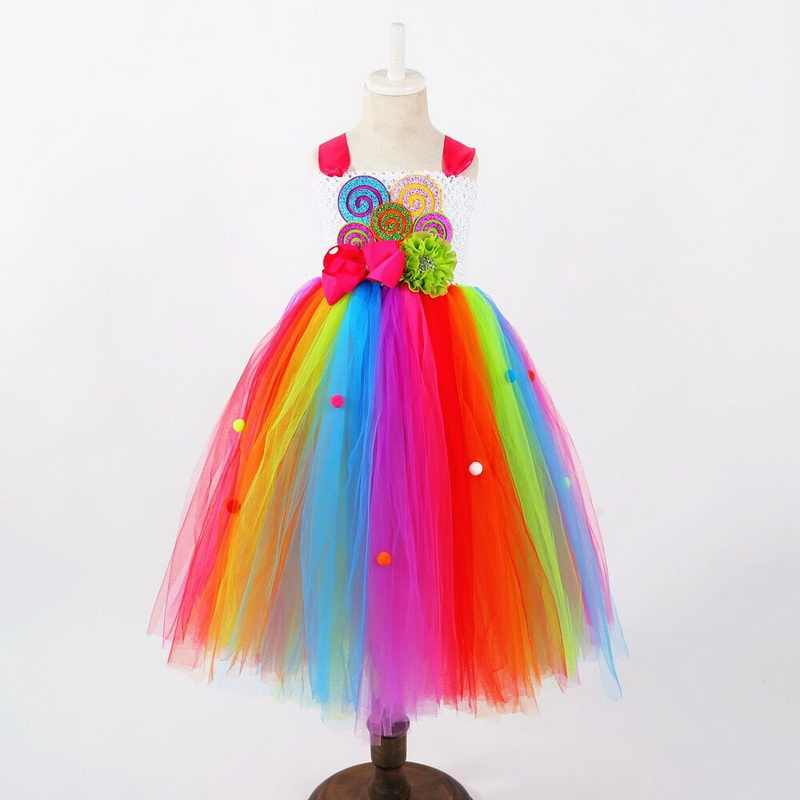 ab2460b7d Girls Candy Rainbow Tutu Dress Sweet Lollipop Tulle Dresses Flower Birthday Party  Outfit for Kids cosplay
