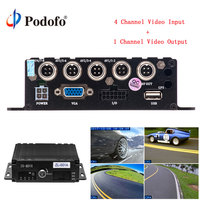 Podofo Mini Realtime SD Car Mobile DVR 4ch Audio Video/ audio Input Car Mobile DVR Vehicle Hard Drive IR Remote Control Dashcam