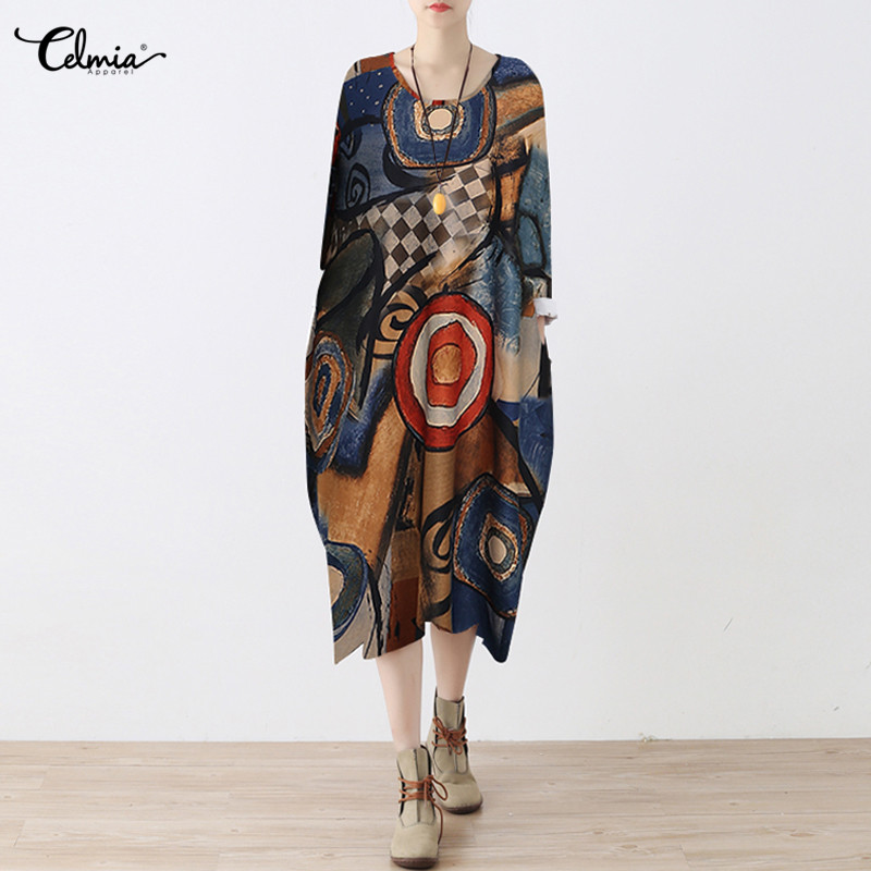 Celmia Plus Size African Clothes Dashiki Dress for Women Casual Summer hippie Print Dashiki Fabric Femme Boho Robe Femme S-5XL