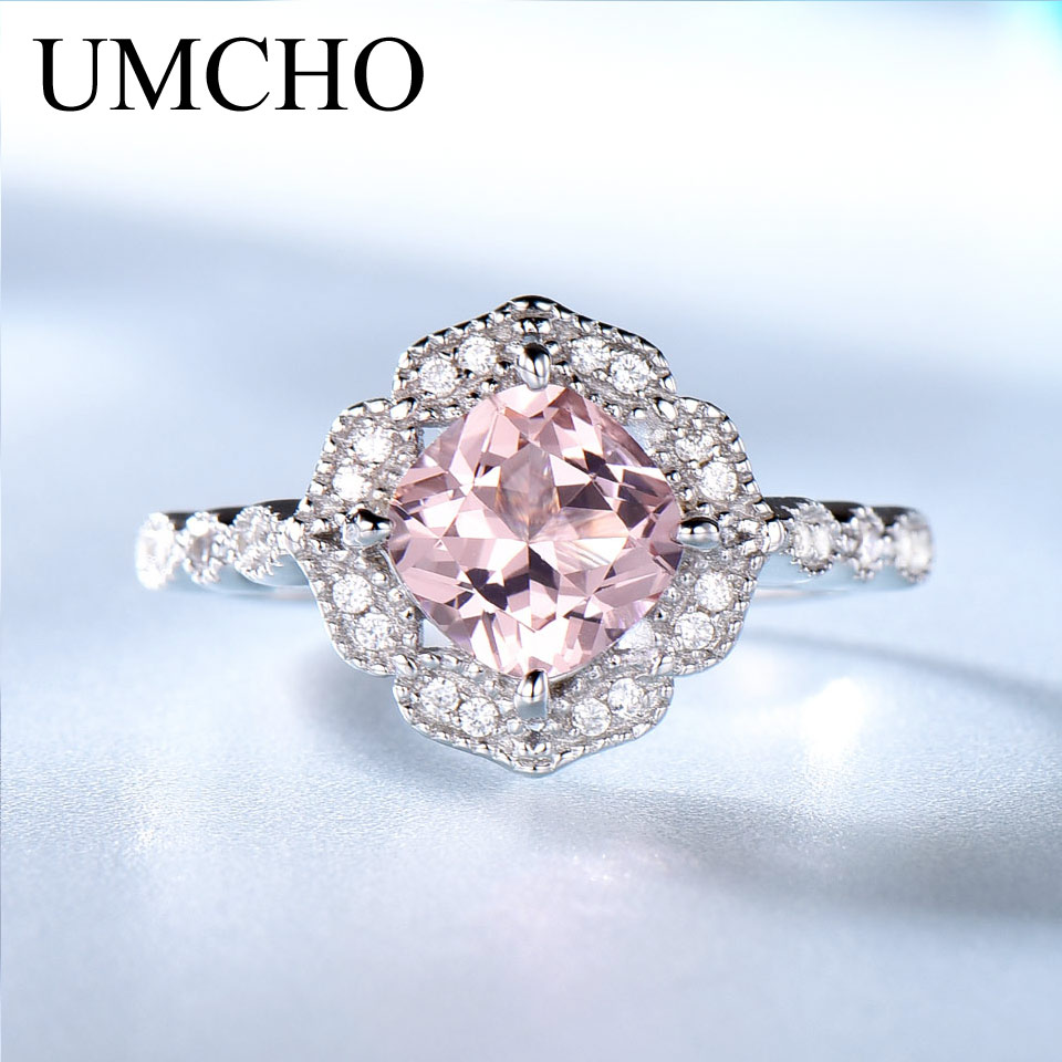 UMCHO Solid Sterling Silver Cushion Morganite Rings for Women Engagement Anniversary Band Pink Gemstone Valentine's Gift