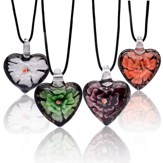 Handmade italian murano glass heart pendant necklace leather chains handmade italian murano glass heart pendant necklace leather chains flower colored glaze bead necklaces jewelry mozeypictures Choice Image