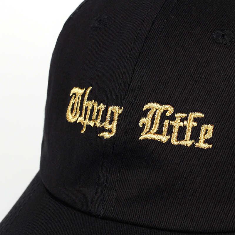 79bfff9a906 ... Thug Life hip hop Hat Golden embroidery Baseball Cap Summer Sun outdoor  Rock Rap 2pac hats ...