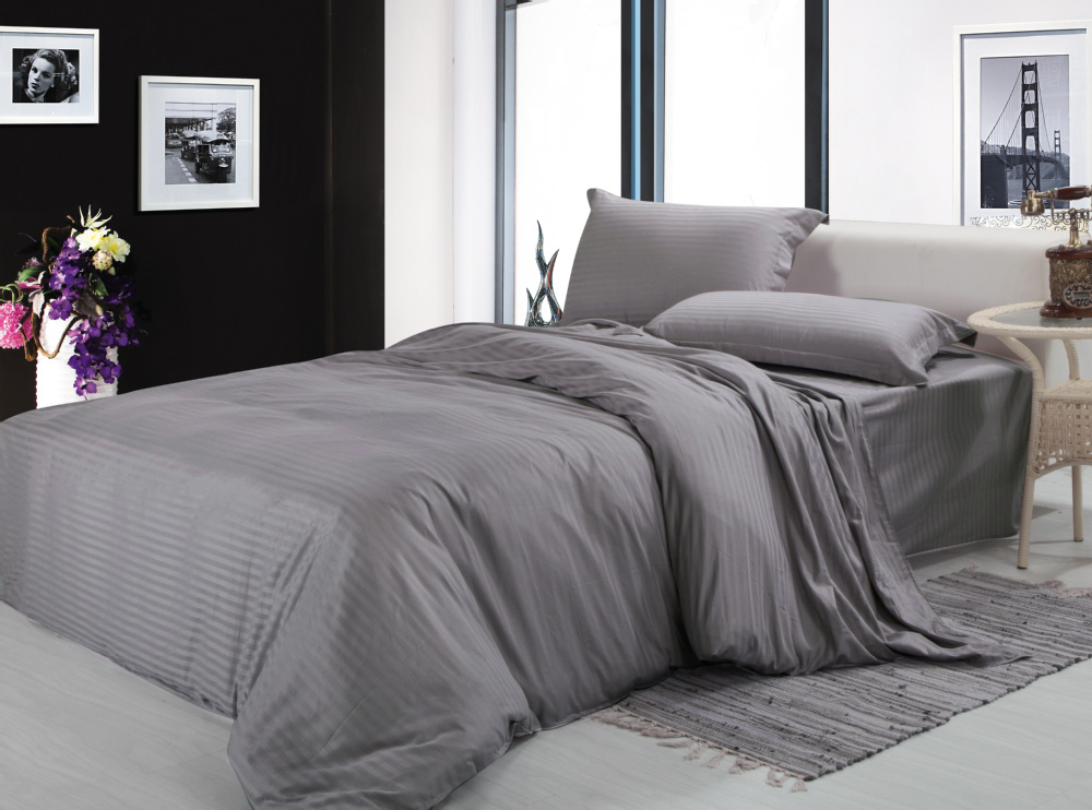Free Shipping100 Cotton Fabric Silver Gray White 4pcs Bedding Sets Twin Full Queen King Size Bed Linen Duvet Cover Set