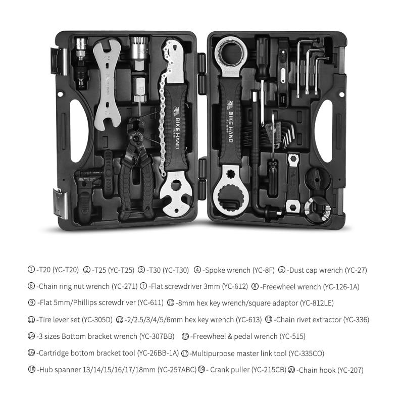 Bike Hand 18 In 1 Bicycle Repair Tools Kit Multi Mtb Tire Chain Repair Tools Spoke Wrench Kit Hex Screwdriver Bike Tools - 2
