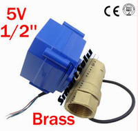 Free Shipping 1/2'' Brass Micro Electric Ball Valve 5V Voltage CWX 15Q,2 way Motor Operated Ball Valve DN15