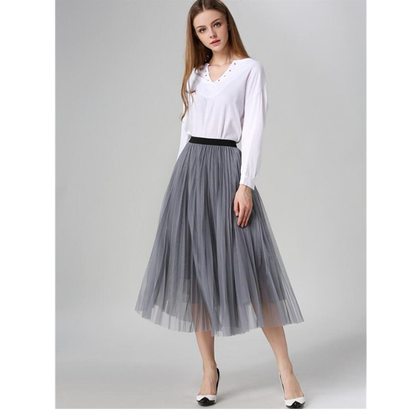 New Spring Summer Women Midi Tulle Skirt European Style Elegant Ladies High Waist Solid Pleated Swing Tutu Maxi Skirts
