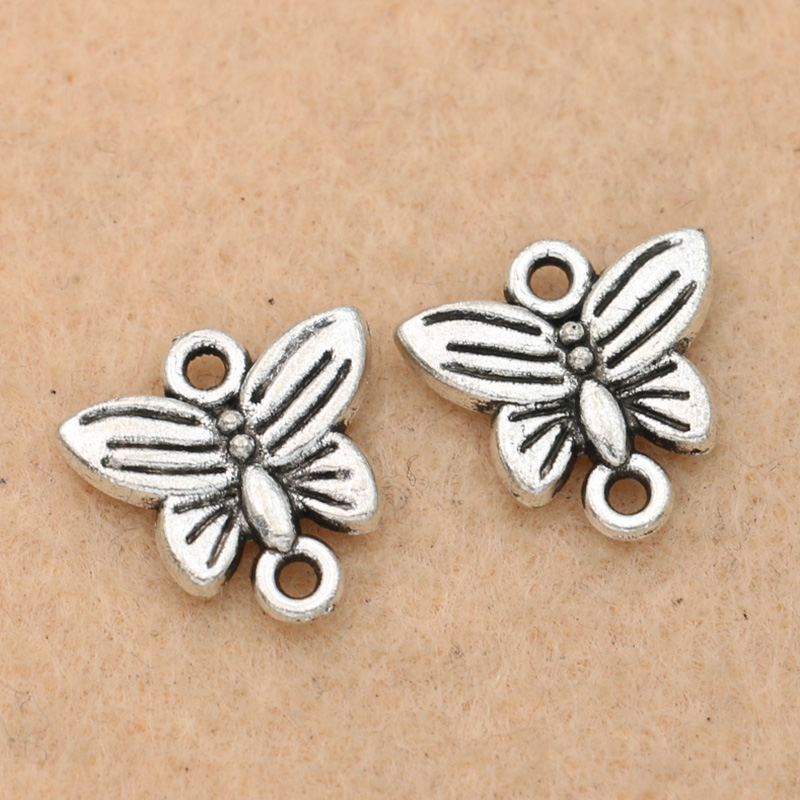 50 New Charms Animal Butterfly Wings Tibetan Silver Spacer Beads 4.5x13.5mm