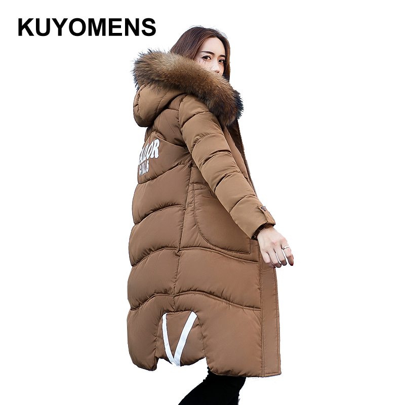 KUYOMENS Brand Winter Coat Women X-long Plus Size M-XXXL Parka Luxury Fur Cotton-Padded Thick Warm Coats Women Wadded Jackets winter jacket women 2017 new winter coat women long parka luxury fur cotton padded coat women wadded jackets plus size 3xl
