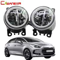 Cawanerl Car Styling 4000LM LED Lamp H11 Front Fog Light + Angel Eye Daytime Running Light DRL 12V For Citroen DS5 2012 2016