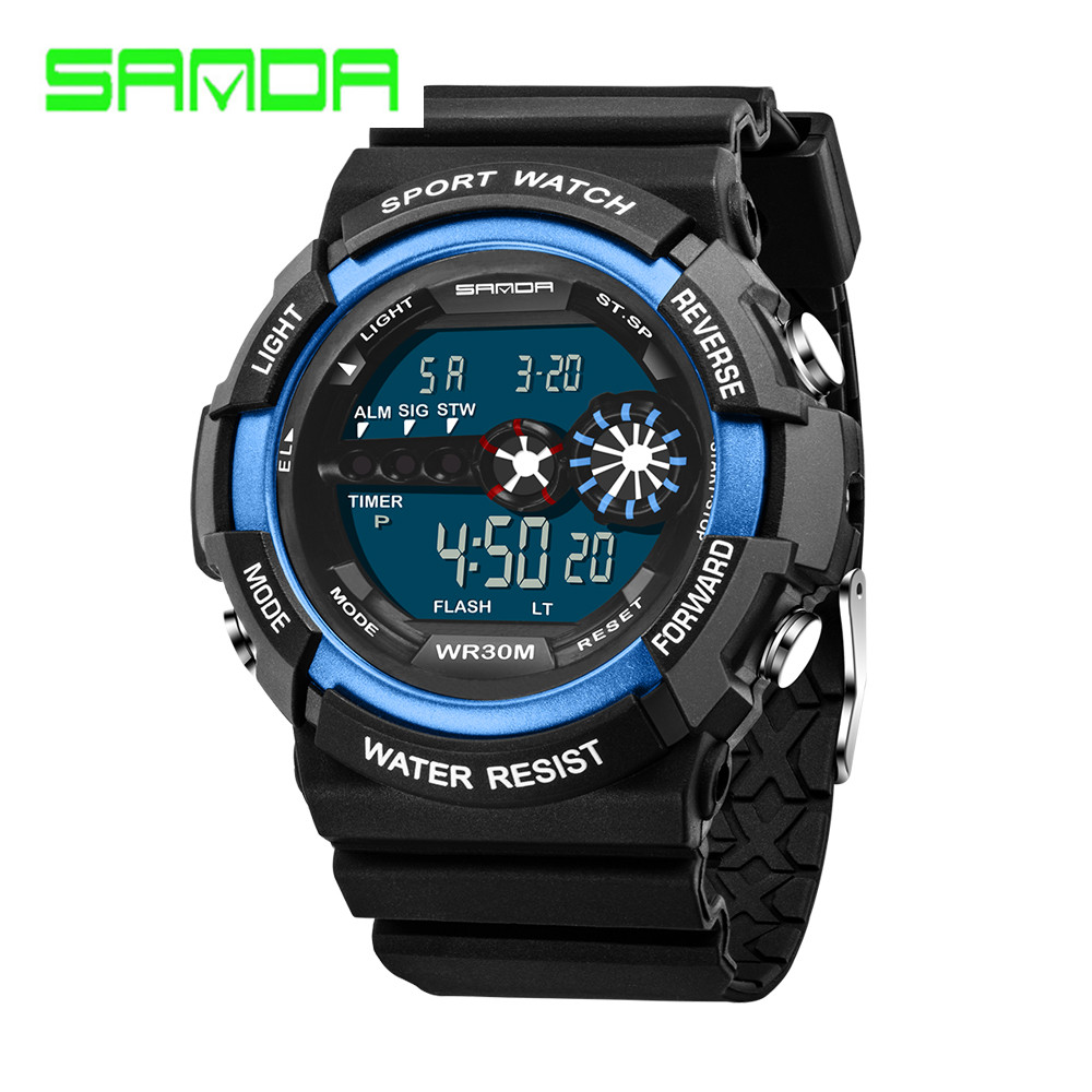SANDA Famous Brand LED Digital Sports Watch Men 50M Waterproof Shock Resistant Men WristWatches Army Military