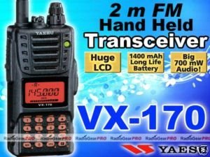 Yaesu VX-170 VHF 136-174 Mhz Portable Ham radio VX170
