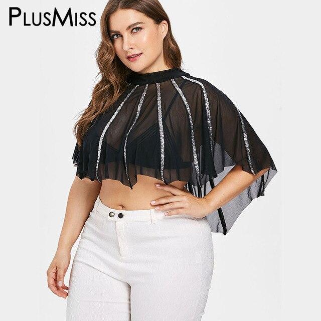 c20bfc0aa1e PlusMiss Plus Size 5XL Sexy Mesh Lace Sequin Crop Blouse Women Sexy Sheer  Loose See Though Chiffon Cape Tops Big Size XXXXL XXXL