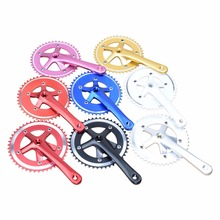 цены 44T 46T*170mm Aluminium Alloy MTB Road Bike Chainwheels CNC 130BCD Track Single Speed Bike Crank Fixed Gear Bicycle Cranksets