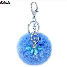 Cute Flower Fairy Fur Keychain Pompom Fake Fur Ball Key Chain Fluffy P