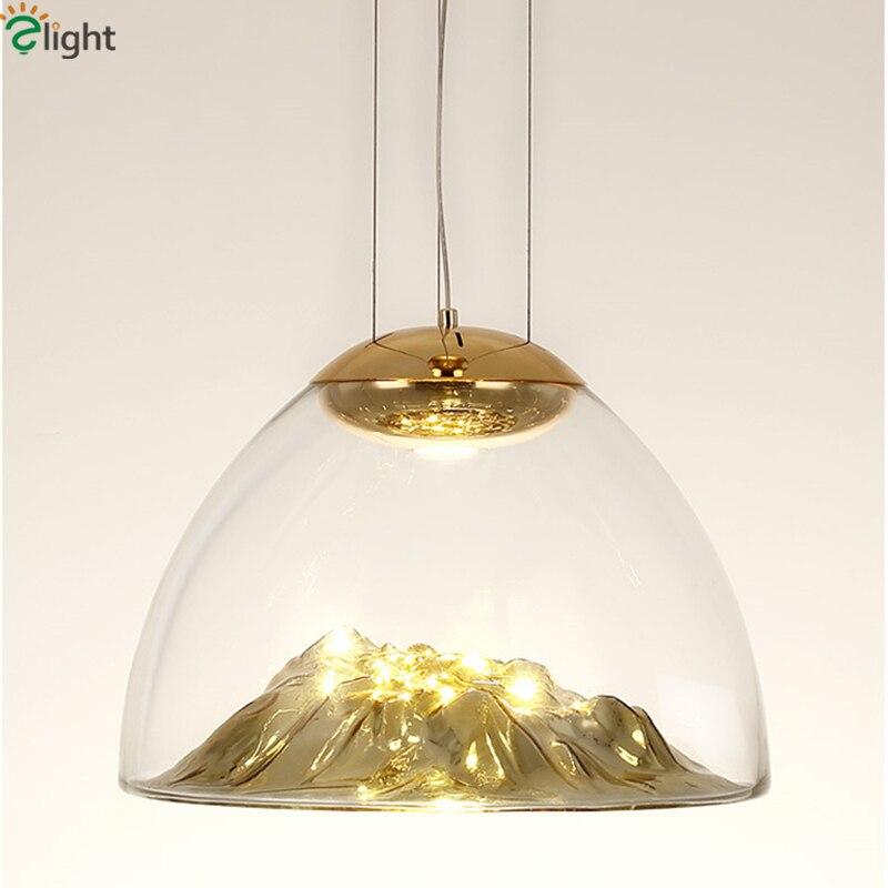Обеденная ясно Стекло блеска пластины Стекло скала подвесной светильник COB лампы современный тумбы подвесной светильник Крытый приостанов
