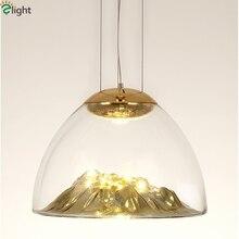 Обеденная ясно Стекло блеска пластины Стекло скала подвесной светильник COB лампы современный тумбы подвесной светильник Крытый приостановить лампы