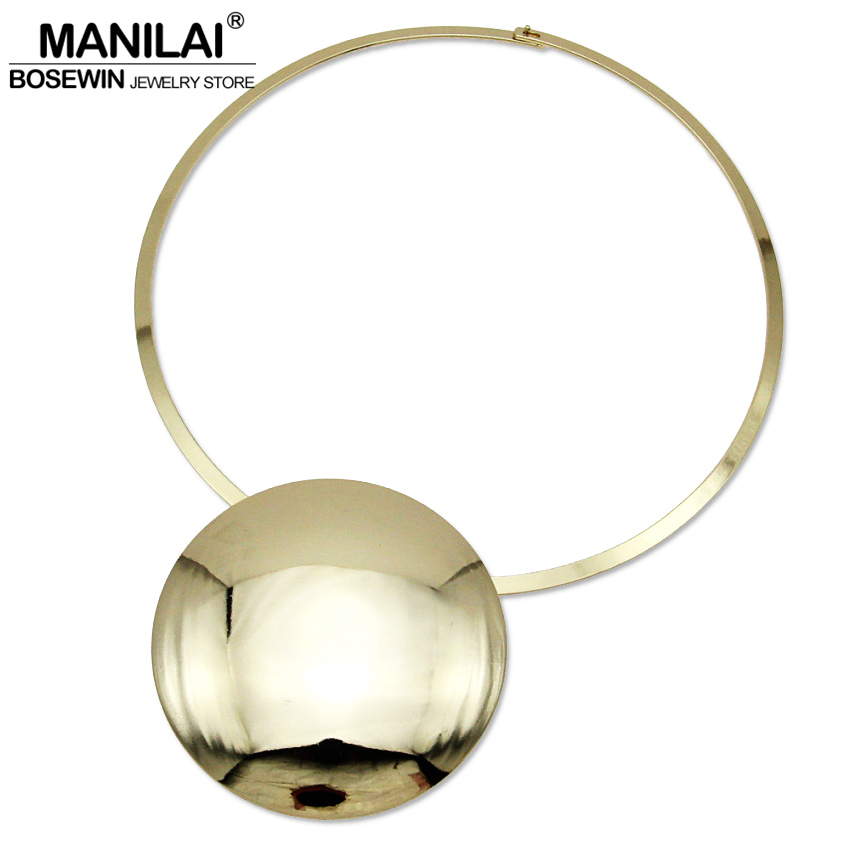 MANILAI Unique Design Collar Choker Necklace Women Accessories Charm Torque Big Metal Circle Pendants Statement Jewelry CE4002 manilai trendy metal hollow torque choker necklaces women indian punk geometric collar statement necklace jewelry accessories