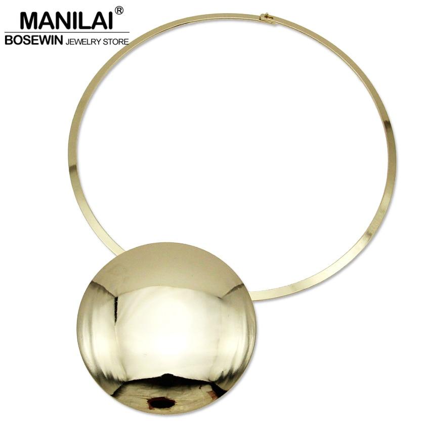 MANILAI Unique Design Collar Choker Necklace Women Accessories Charm Torque  Big Metal Circle Pendants Statement Jewelry 95ff082c6967