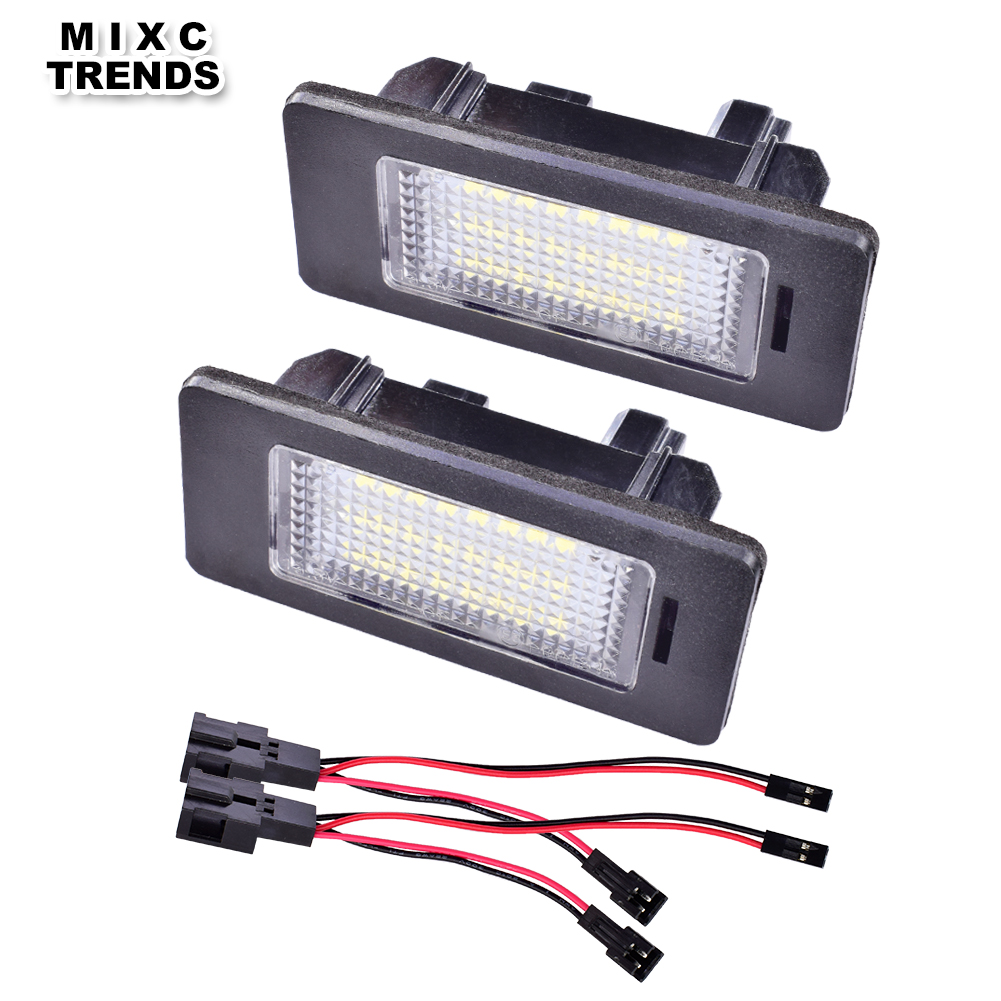 1Pair 24SMD Super White Car LED Number License Plate Lights Lamp For Audi Q5 A1 A4 A5 A6 A7 TT TTS RS5 TTRS cawanerl car canbus led package kit 2835 smd white interior dome map cargo license plate light for audi tt tts 8j 2007 2012