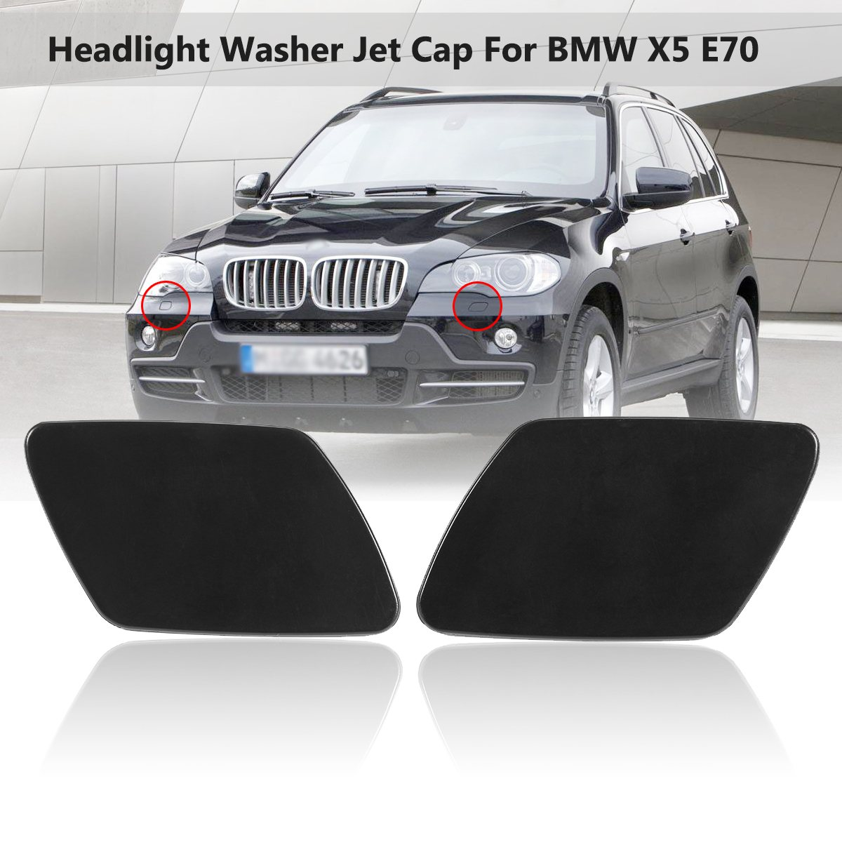 Car Front Left & Right Headlight Washer Jet Spray Nozzle Cap Cover For BMW X5 E70 51657199141 51657199142