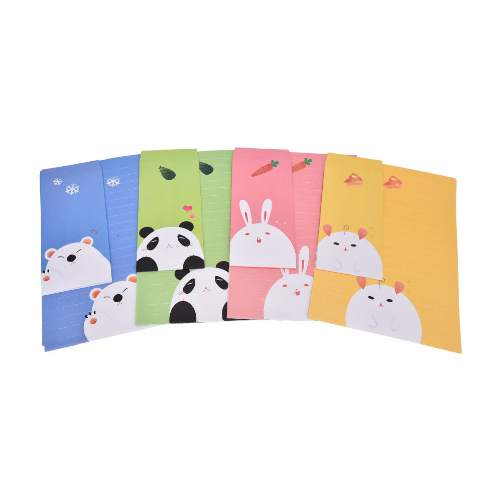 3 Pcs Envelopes Per Set Vintage Kraft Paper Envelopes+Cute Cartoon Kawaii Paper Korean Stationery Gift 6 Sheets Letter Paper
