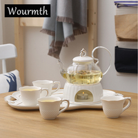Wourmth простой Цветочный чай набор свечи Отопление стеклокерамической вареные фрукты Цветочный чай день чайник чашка лоток