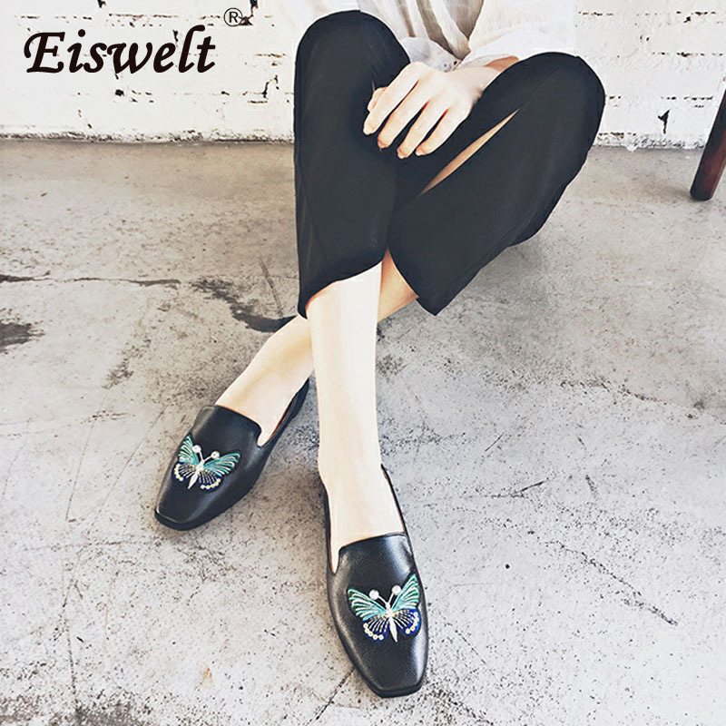 EISWELT New Arrival Patent Leather Flat Women Ballet Flats Shoes Women Plus Size Black Square Toe Bowtie Shoes Black for Lady 2014 new gold scorpion black patent leather flat women sandals shoes free shipping
