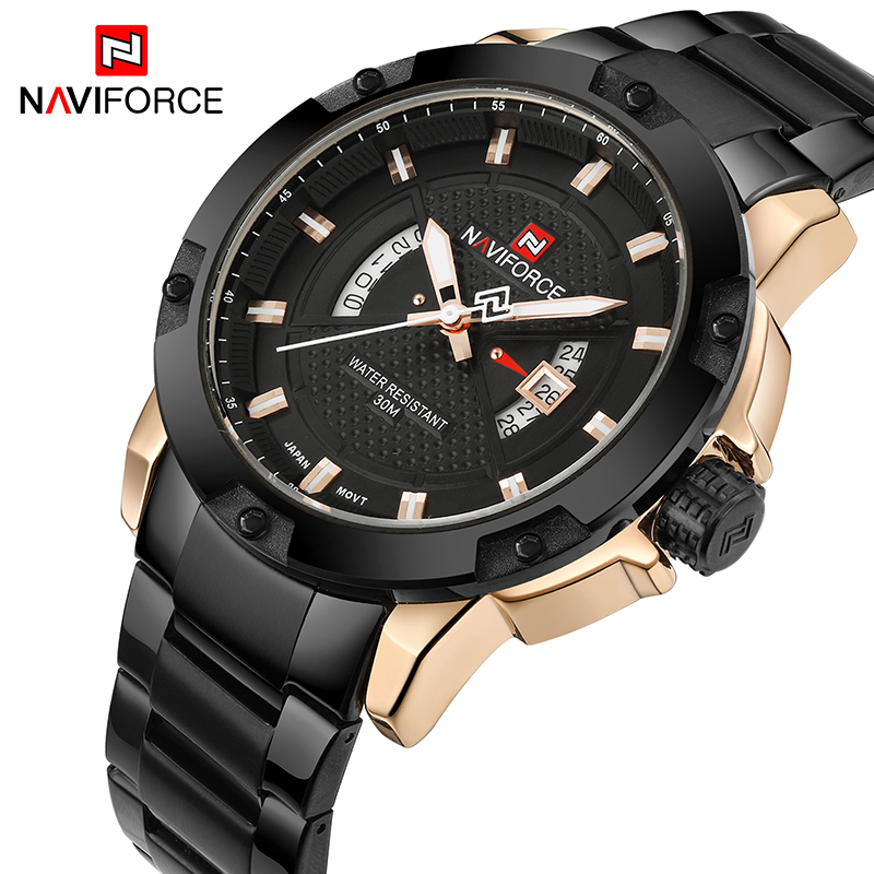 2017 New Naviforce Fashion Watches Men Luxury Brand Full Stainless Steel Date Sports Clock Men's Quartz Watch Relogio Masculino new men stainless steel gold watch luxury brand auto date mens quartz clock roman scale sports wrist watches relogio masculino