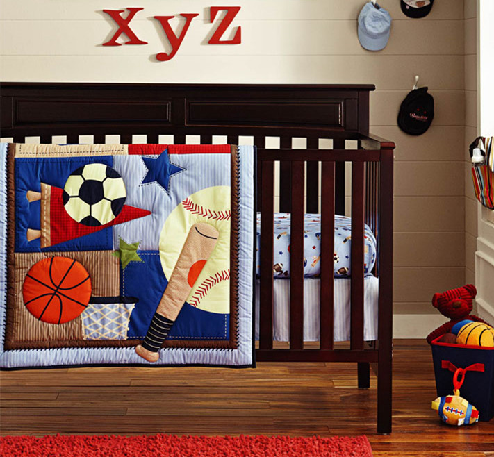 Promotion! 6PCS embroidery Baby bedding sets ,100% cotton cartoon crib baby bumper ,include(bumper+duvet+bed cover)